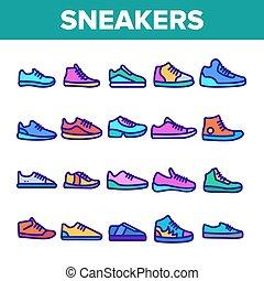 jogo, ícones, cor, vetorial, sneakers, linha magra