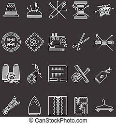 jogo, ícones, cosendo, vetorial, linha branca