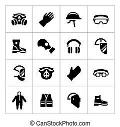 jogo, ícones, de, pessoal, equipamento protetor