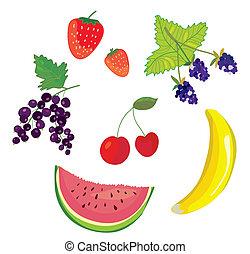 jogo, ícones, -, desenho, baga, frutas
