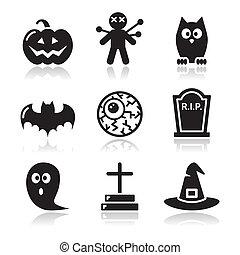 jogo, ícones, dia das bruxas, -, pretas, abóbora