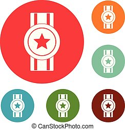 jogo, ícones, distinção, vetorial, círculo, fita