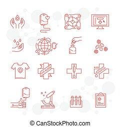 jogo, ícones, doação, símbolos, braço, doador sangue, gotas, saco