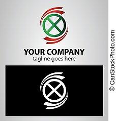 jogo, ícones, elemento, carta x, logotipo