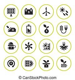 jogo, ícones, energia, fontes, alternativa, redondo