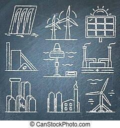 jogo, ícones, energia, mão, chalkboard, desenhado, renovável