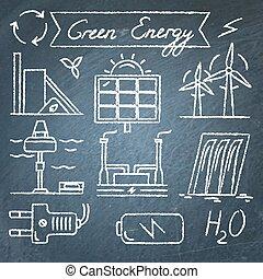 jogo, ícones, energia, mão, desenhado, renovável