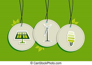 jogo, ícones, energia, verde, penduradas, emblemas