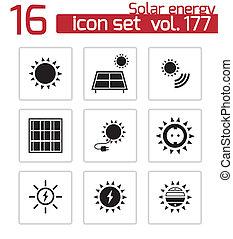 jogo, ícones, energia, vetorial, pretas, solar