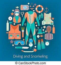 jogo, ícones, equipment., ilustração, vetorial, mergulhar, scuba, snorkeling