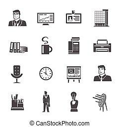 jogo, ícones escritório
