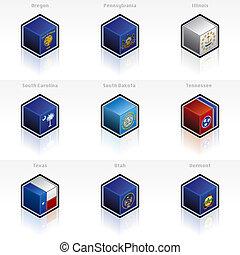 jogo, ícones, -, estados, unidas, bandeiras, desenho, 58e,...