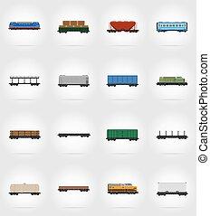 jogo, ícones, estrada ferro, carruagem, trem, apartamento, ícones, vetorial, ilustração