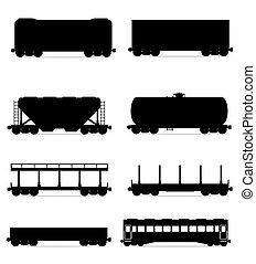 jogo, ícones, estrada ferro, carruagem, trem, pretas, esboço, silueta, vetorial, ilustração