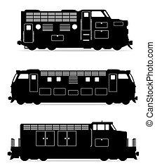 jogo, ícones, estrada ferro, locomotiva, trem, pretas, esboço, silueta, vetorial, ilustração