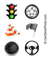 jogo, ícones, estrada