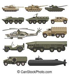jogo, ícones, exército, isolado, tempo guerra, vetorial, máquinas, militar, transporte