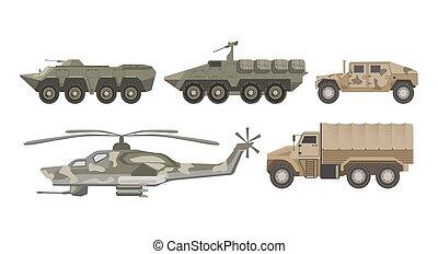 jogo, ícones, exército, isolado, vetorial, máquinas, militar, aviação, transporte