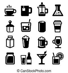 jogo, ícones, experiência., vetorial, branca, bebidas