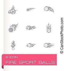 jogo, ícones, fogo, bolas, vetorial, desporto