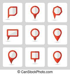 jogo, ícones, formulários, vetorial, vário, ponteiro, vermelho
