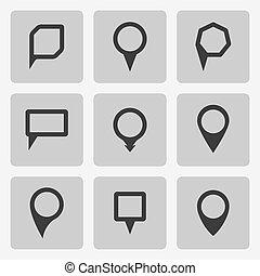 jogo, ícones, formulários, vetorial, vário, pretas, ponteiro