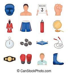 jogo, ícones, grande, símbolo, boxe, cobrança, style., vetorial, ilustração, caricatura, estoque