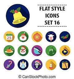 jogo, ícones, grande, símbolo, cobrança, style., vetorial, ilustração, caricatura, dia natal, estoque