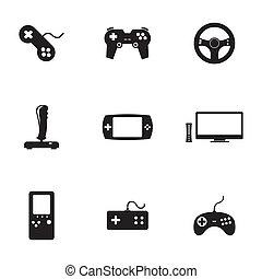 jogo, ícones, jogo, vetorial, pretas, vídeo