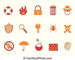 jogo, ícones, laranja cor, segurança, vermelho