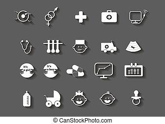 jogo, ícones, médico, mulher, cuidados de saúde, gravidez
