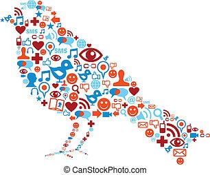 jogo, ícones, mídia, composição, social, pássaro