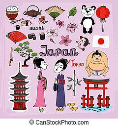 jogo, ícones, marcos, cultural, vetorial, japão
