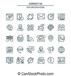 jogo, ícones, nós, contato, linha magra