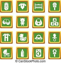 jogo, ícones, nascido, vetorial, quadrado, bebê, verde