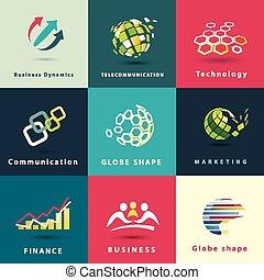 jogo, ícones negócio, abstratos, vetorial, tecnologia