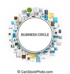 jogo, ícones negócio, dado forma, ilustração, vetorial, título, círculo, colorido, circle.