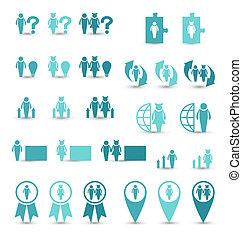 jogo, ícones negócio, gerência, recursos humanos