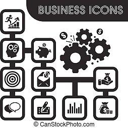 jogo, ícones negócio