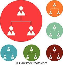 jogo, ícones negócio, vetorial, círculo, estrutura