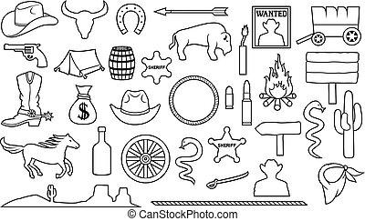 jogo, ícones, oeste, magra, selvagem, linha