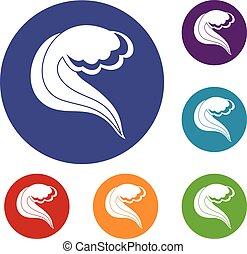 jogo, ícones, onda, mar, oceânicos, ou
