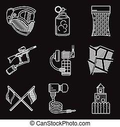 jogo, ícones, paintball, vetorial, linha, branca