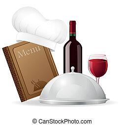 jogo, ícones, para, restaurante, vetorial