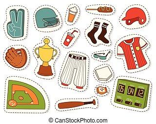 jogo, ícones, símbolo, equipe, competição, caricatura, equipamento, jogo, vetorial, basebol, ilustração, softball, desenho, desporto, brincando