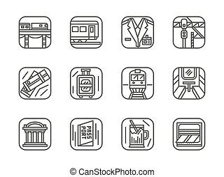 jogo, ícones, simples, vetorial, pretas, linha, estrada ferro