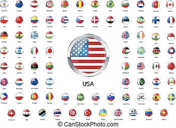 jogo, ícones, soberano, metálico, estados, bandeiras, lustroso, mundo, borda, redondo