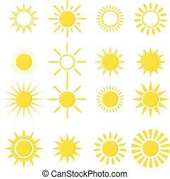 jogo, ícones, sol, isolado, experiência., branca