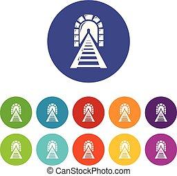 jogo, ícones, túnel, cor, vetorial, estrada ferro
