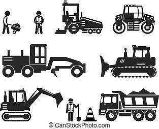 jogo, ícones, trabalhador, vetorial, pretas, construção, estrada